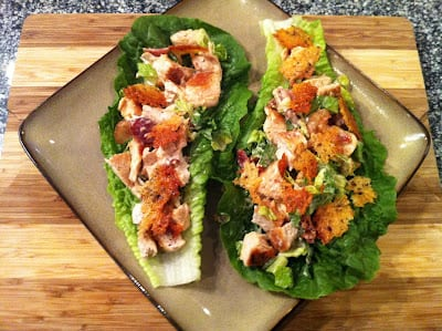 Chicken Cauesar Lettuce Wraps with Bacon