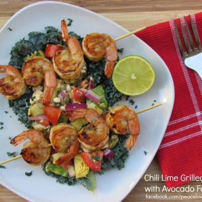 Chili-Lime Grilled Prawns w/ Avocado-Feta Salsa