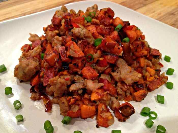Chicken Sausage Sweet Potato Hash | Peace Love and Low Carb