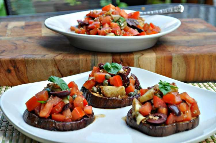 Eggplant Bruschetta - Paleo, Low Carb, Gluten Free | Peace Love and Low Carb