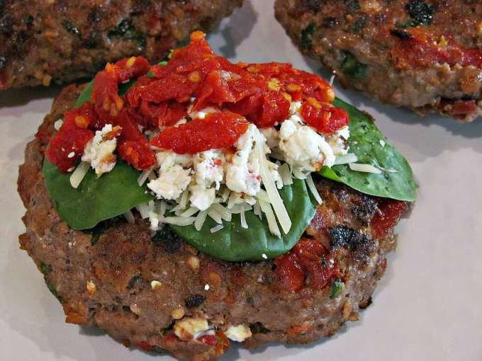 Spinach Feta Bacon Burgers | Peace Love and Low Carb