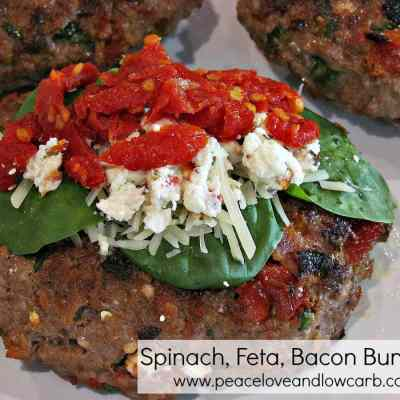 Spinach, Feta Bacon Burgers