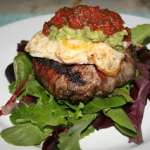 Bacon and Egg Burgers on Mixed Greens