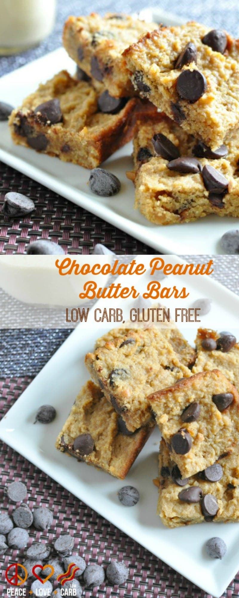 Chocolate Peanut Butter Bars - Low Carb, Gluten Free | Peace Love and Low Carb