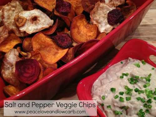 Salt and Pepper Veggie Chips - Low Carb Chip and Cracker Recipe Round Up | Peace Love and Low Carb