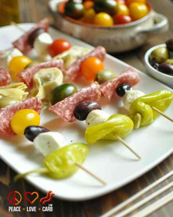 Antipasto Kebabs - Low Carb, Gluten Free | Peace Love and Low Carb