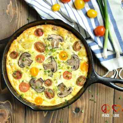 Sausage, Sharp White Cheddar and Heirloom Tomato Frittata - Low Carb, Gluten Free | Peace Love and Low Carb