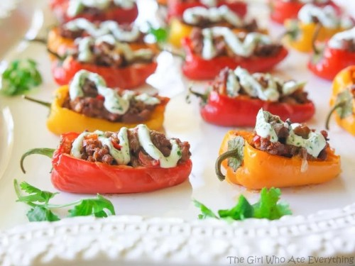 Mini Taco Stuffed Peppers - 50 Low Carb Stuffed Pepper Recipe Round Up | Peace Love and Low Carb