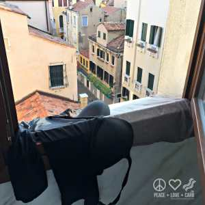 My only clothes drying in the hotel window in Venice