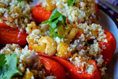 Cauliflower Rice Stuffed Pepper - 20 Low Carb and Gluten Free Cauliflower Rice Recipes | Peace Love and Low Carb