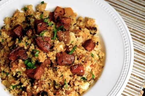 Paleo Cauliflower Dirty Rice with Andouille - 20 Low Carb and Gluten Free Cauliflower Rice Recipes | Peace Love and Low Carb