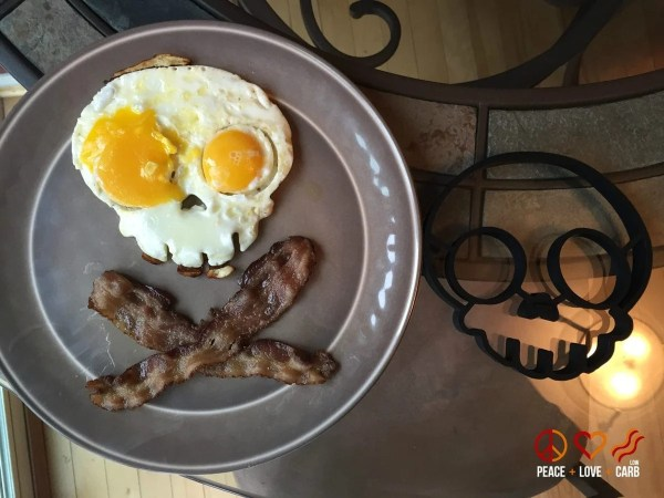 Bacon and Eggs Skull and Crossbones Style - Peace Love and Low Carb
