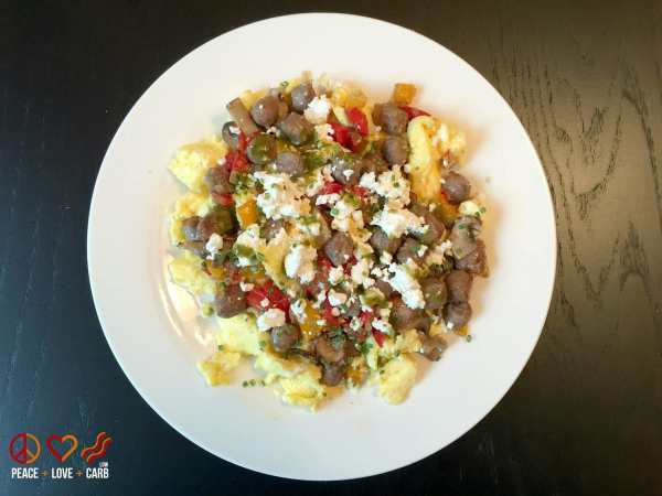 Sausage and Veggie Scramble with Goat Cheese and Chives | Peace Love and Low Carb
