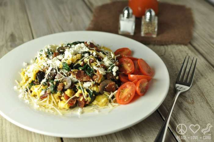 Bacon, Spinach and Feta Scramble - Low Carb, Gluten Free   Peace Love and Low Carb