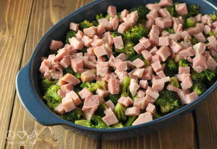 Three Cheese Broccoli Ham Casserole - Low Carb, Gluten Free | Peace Love and Low Carb