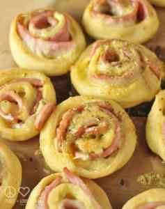 Hot Ham and Cheese Roll-Ups with Dijon Butter Glaze - Low Carb, Gluten Free