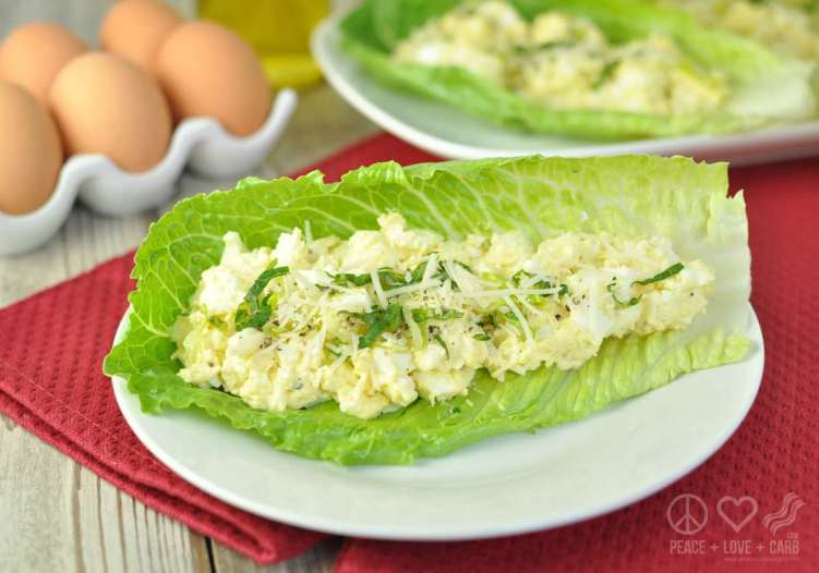 Caesar Egg Salad Lettuce Wraps - Low Carb, Gluten Free | Peace Love and Low Carb