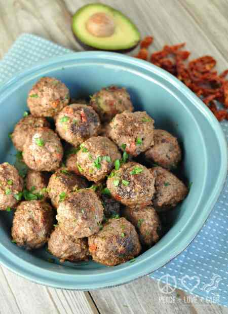 White Cheddar and Sun Dried Tomato Avocado Stuffed Meatballs - Low Carb, Gluten Free | Peace Love and Low Carb