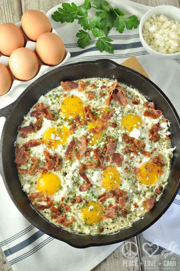 Creamy Herbed Bacon and Egg Skillet - Low Carb, Gluten Free   Peace Love and Low Carb