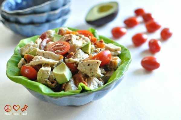 BLTA Pesto Chicken Salad | Peace Love and Low Carb