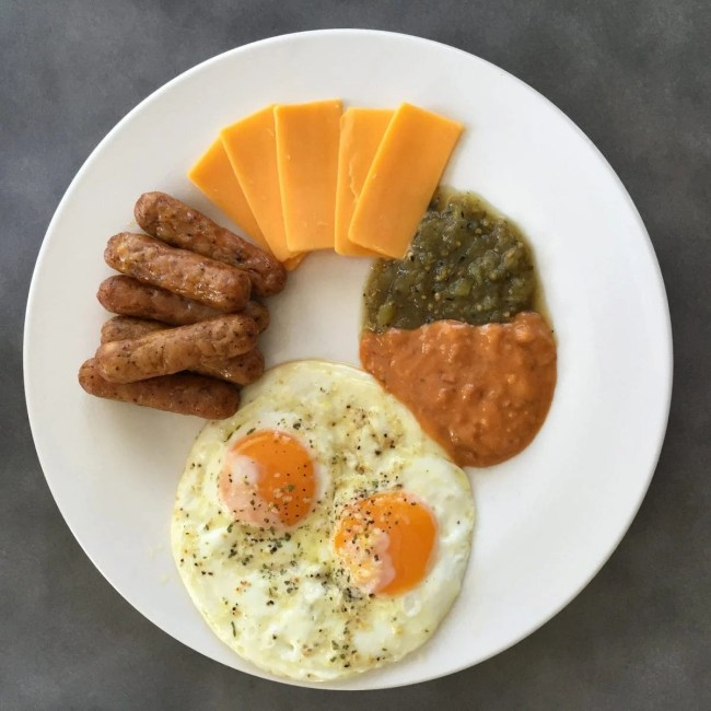 Sausage, Eggs, Cheese and Salsa   Peace Love and Low Carb