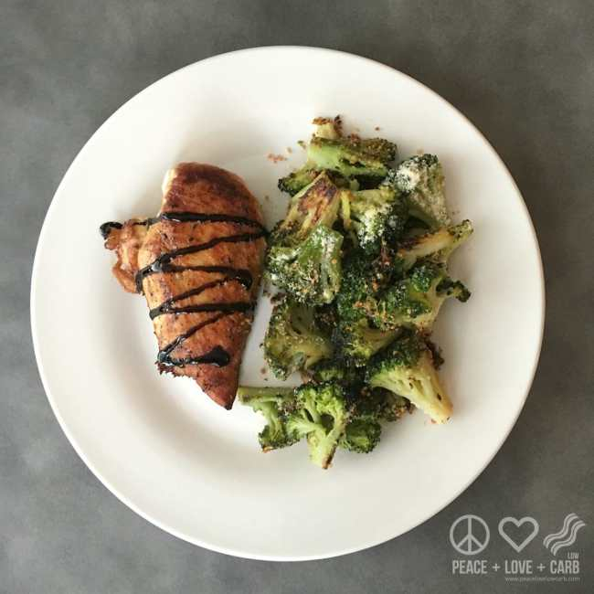 Simple Low Carb Dinner - Pan Seared Chicken with Balsamic Glaze and Oven Roasted Broccoli | Peace Love and Low Carb