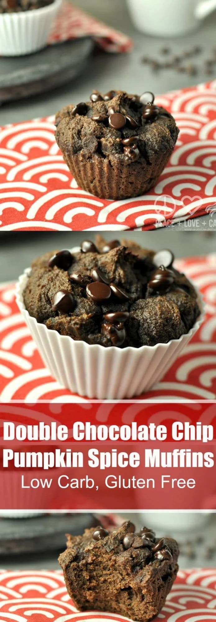 Double Chocolate Chip Pumpkins Spice Muffins - Low Carb, Gluten Free