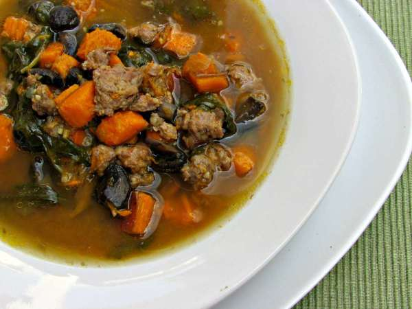 Spicy Sausage Sweet Potato Soup | Peace Love and Low Carb