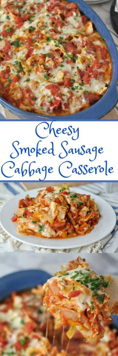 Cheesy Smoked Sausage and Cabbage Casserole - Low Carb, Gluten Free   Peace Love and Low Carb