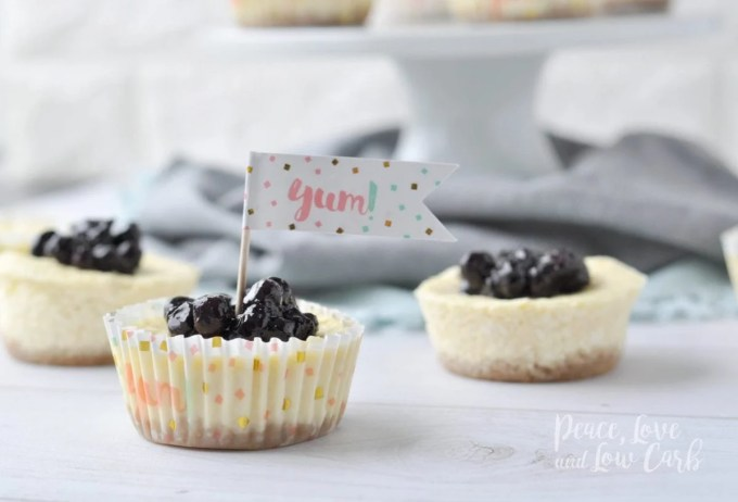 Mini Keto Blueberry Cheesecakes | Peace Love and Low Carb