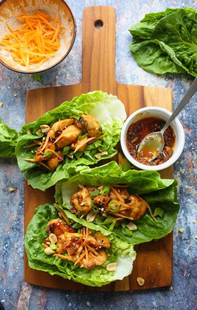 Peanut Asian Chicken Lettuce Wraps | Gluten Free with L.B.