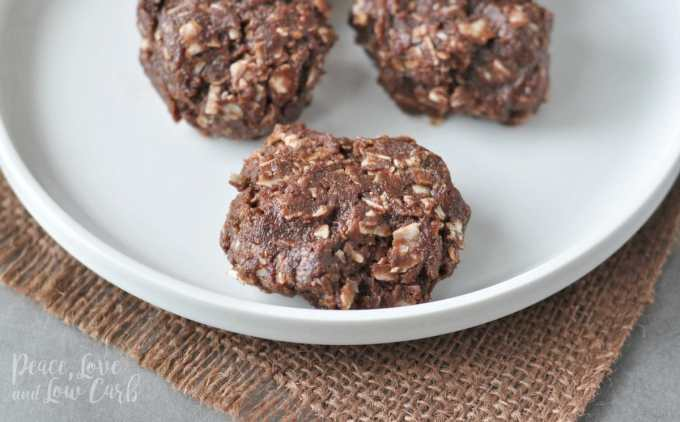 Chocolate Peanut Butter Keto No Bake Cookies | Peace Love and Low Carb