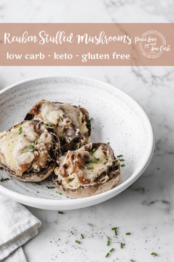 Keto Reuben Stuffed Mushrooms | Peace Love and Low Carb