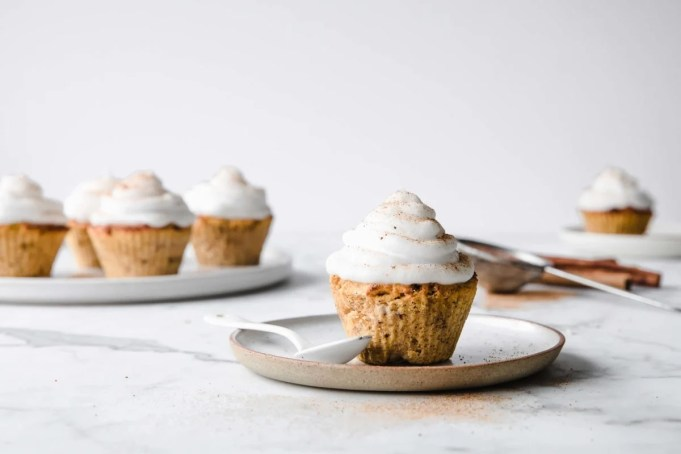 These Keto Pumpkin Spice Cupcakes with Marshmallow Frosting have all the deliciously sweet flavors of fall while still being sugar free and gluten free.  Peace Love and Low Carb