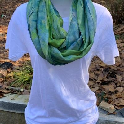 habotai infinity scarf   turmeric + indigo