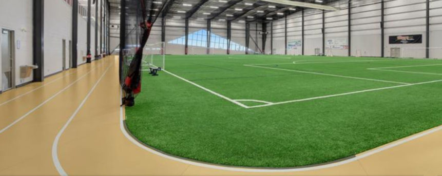 Another example is the Trican Fieldhouse and Happy Trails Track at the County of Grande Prairie Crosslink Sportsplex pictured.