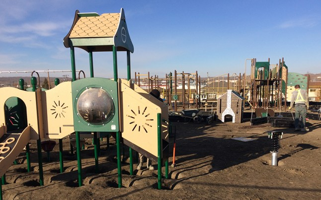 A picture of the playground under construction, October 31.