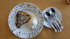 Samoa pie on a plate with ice cream