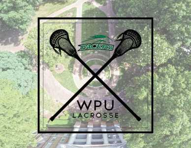 "Graphic of two lacrosse nets crossed in an 'X' with the words 'pacers"" and ""WPU Lacrosse"". A view of the fountain from drone height is unsaturated in the background"