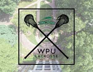 """Graphic of two lacrosse nets crossed in an 'X' with the words 'pacers"""" and """"WPU Lacrosse"""". A view of the fountain from drone height is unsaturated in the background"""