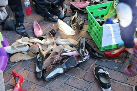 Pile of multiple high heels as seen from above