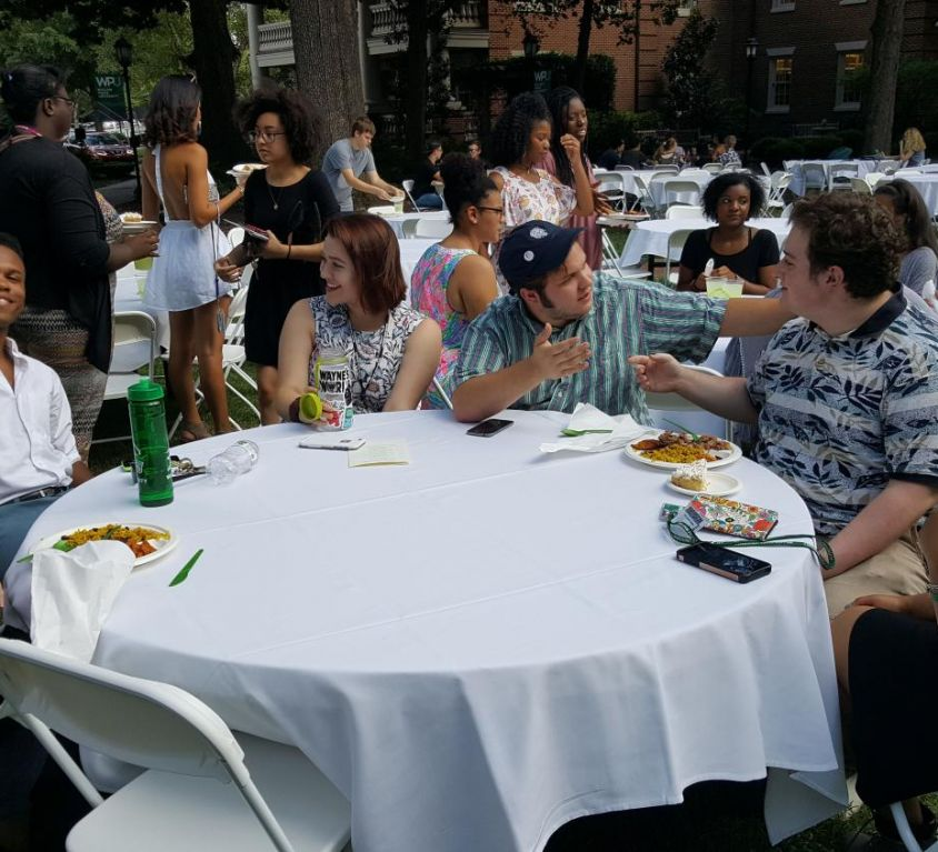 WPU students having dinner on Main lawn