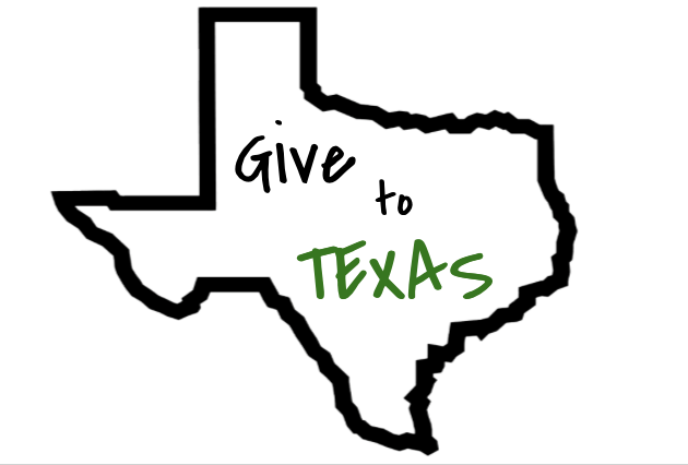 """Give to Texas"" inside of an outline of the state of Texas"
