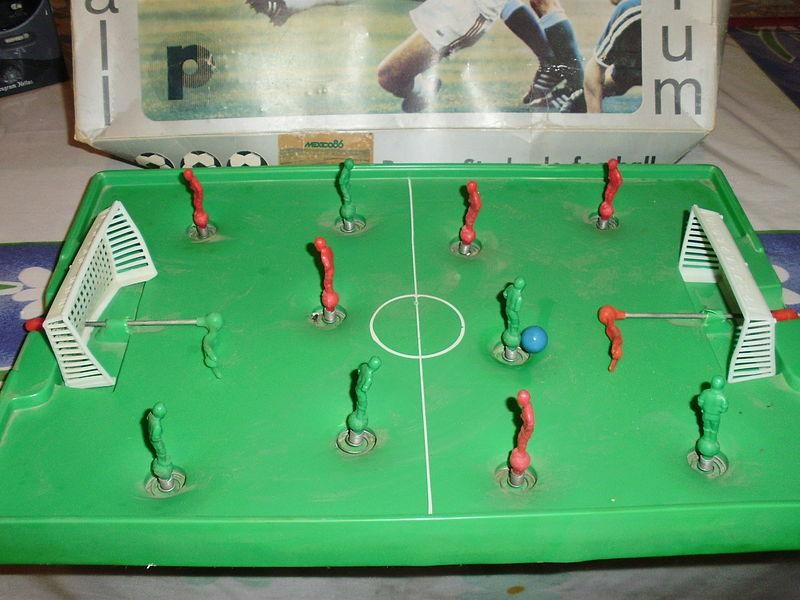 A toy soccer game from 1986 with mechanical players