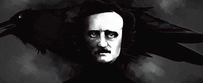 Edgar Allen Poe's face surrounded by black in a painting