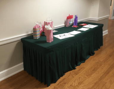 Peanut Week table with gifts on it