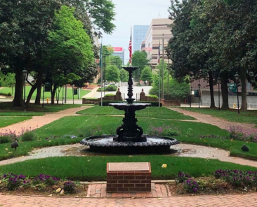 William Peace University Main lawn and fountain