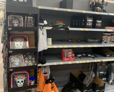 Day of the Dead items are mixed with Halloween items at this WalMart. Photo by Dezarae Churchill.