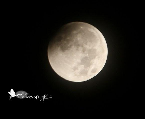 eclipsed moon, partial lunar eclipse