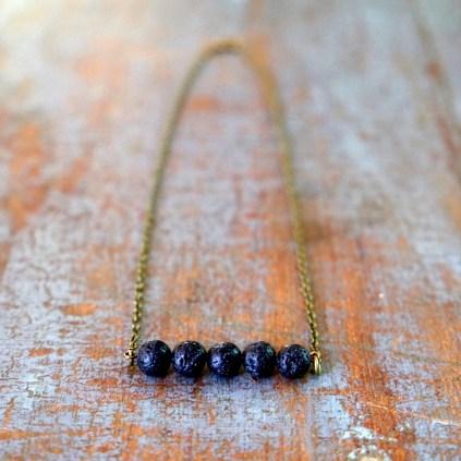 Black Lava Bead Diffuser Necklace